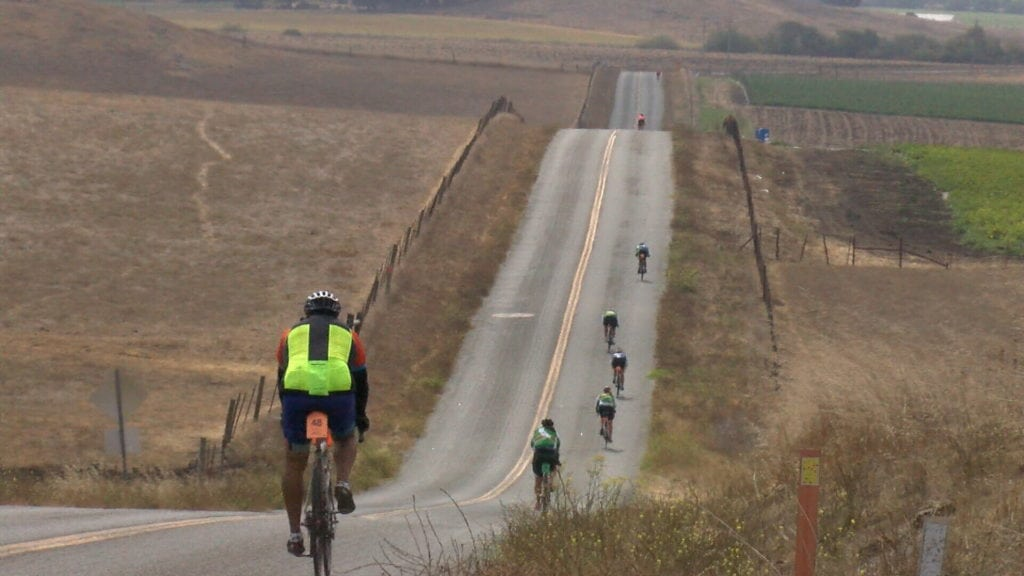 Cyclists make their way through Highway 1 near Cambria. (KSBY photo)