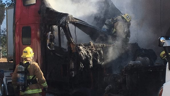 The Santa Barbara County Fire Department contained a vehicle fire in Goleta. Photo courtesy Santa Barbara County Fire Department.
