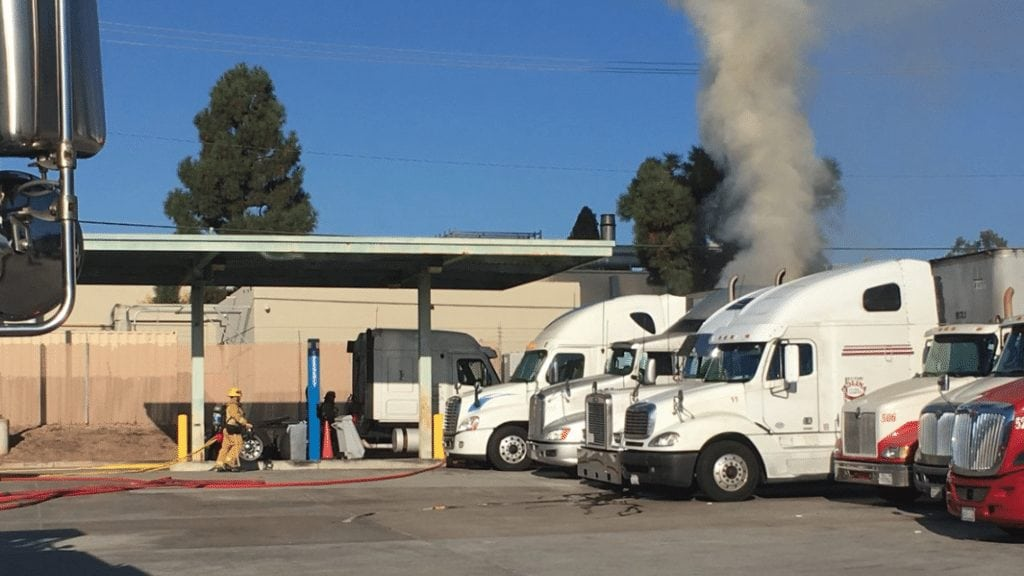 The vehicle fire started Sunday morning at a Goleta US Post Office. Photo Courtesy Santa Barbara County Fire Department.