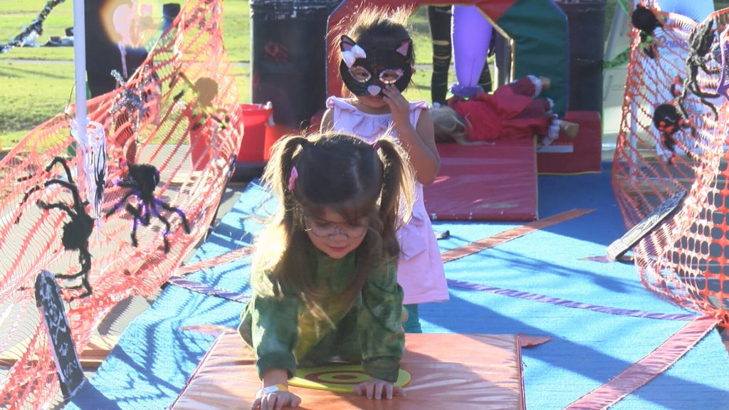 Kids were entertained with an obstacle course at this year's Boo Bash in San Luis Obispo. (KSBY photo)