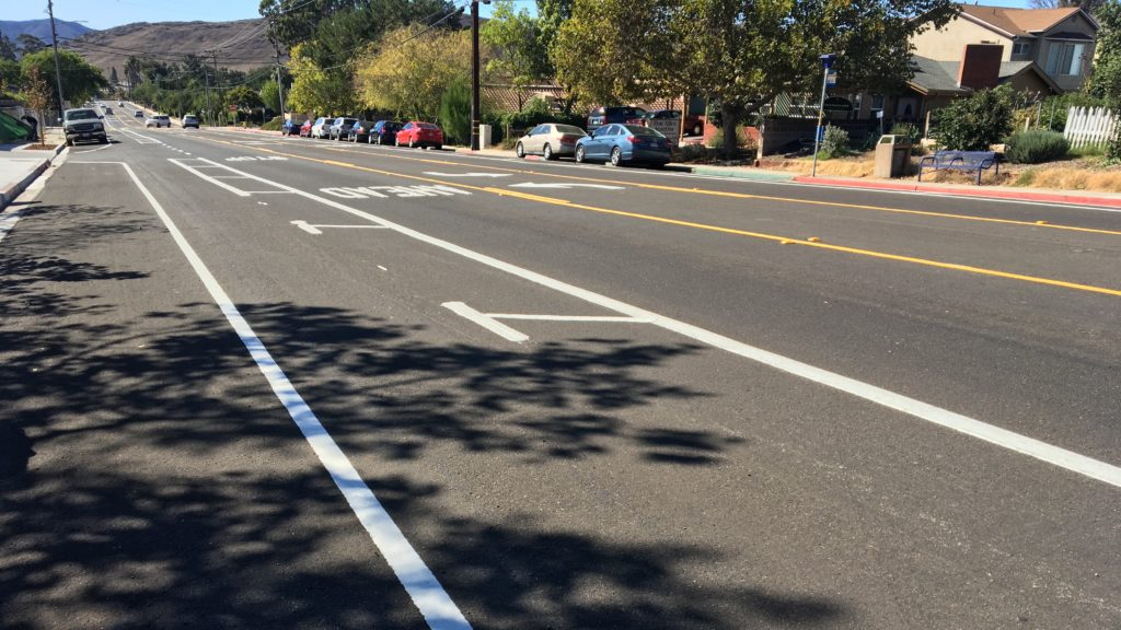 Laurel Lane in San Luis Obispo after safety improvements. (KSBY photo)