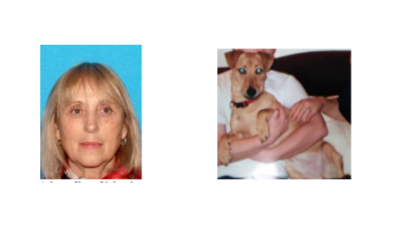 Homicide victim Athena Valentiny and her dog, who is now missing.