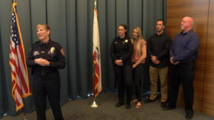 Cathy Farley was sworn in Monday as Allan Hancock College's new chief of police. (KSBY photo)