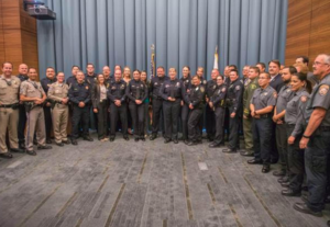 Dozens of law enforcement officials from across the Central and South coasts attended Monday's swearing-in ceremony for Hancock's new police chief. (Photo: AHC)