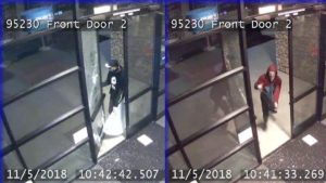 Surveillance photos from the AT&T store burglary Tuesday night.
