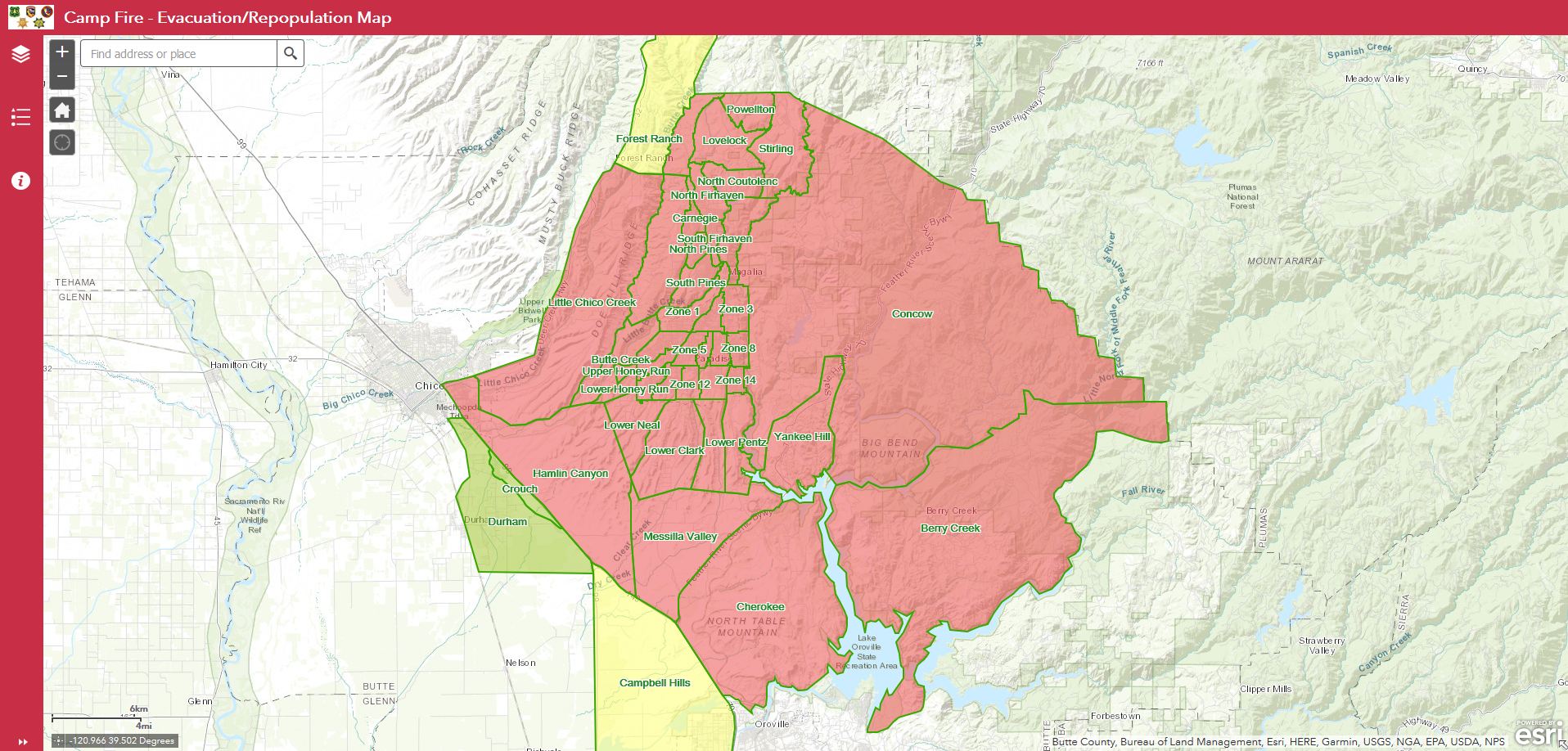Evacuation/repotion map released for Camp Fire on northern california fires map, ca fire history, ca aerial map, ca elevation map, ca state map, ca parks map, ca oil spill map, ca regions map, ca zoning map, ca air map, ca utility map, california wildfire map, ca gold map, california fires today map, ca geologic map, ca precipitation map, ca county map, ca mountains map, ca drought map, ca highway map,
