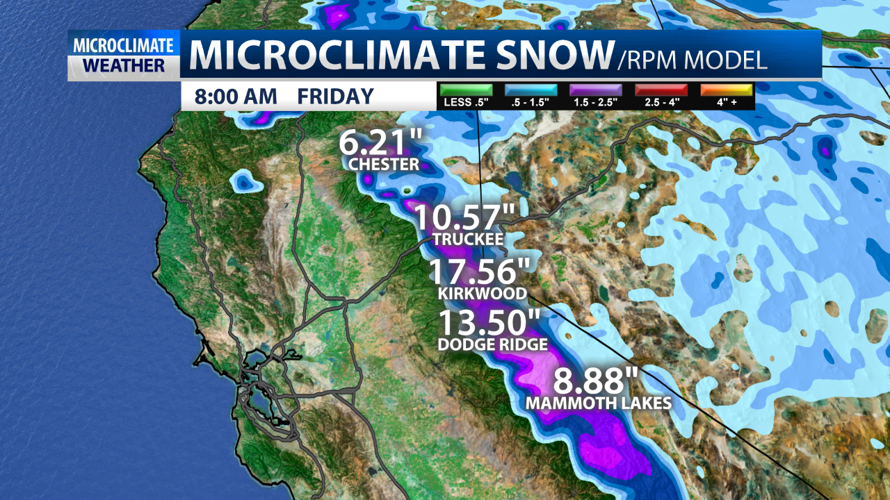 Snow potential in CA mountains