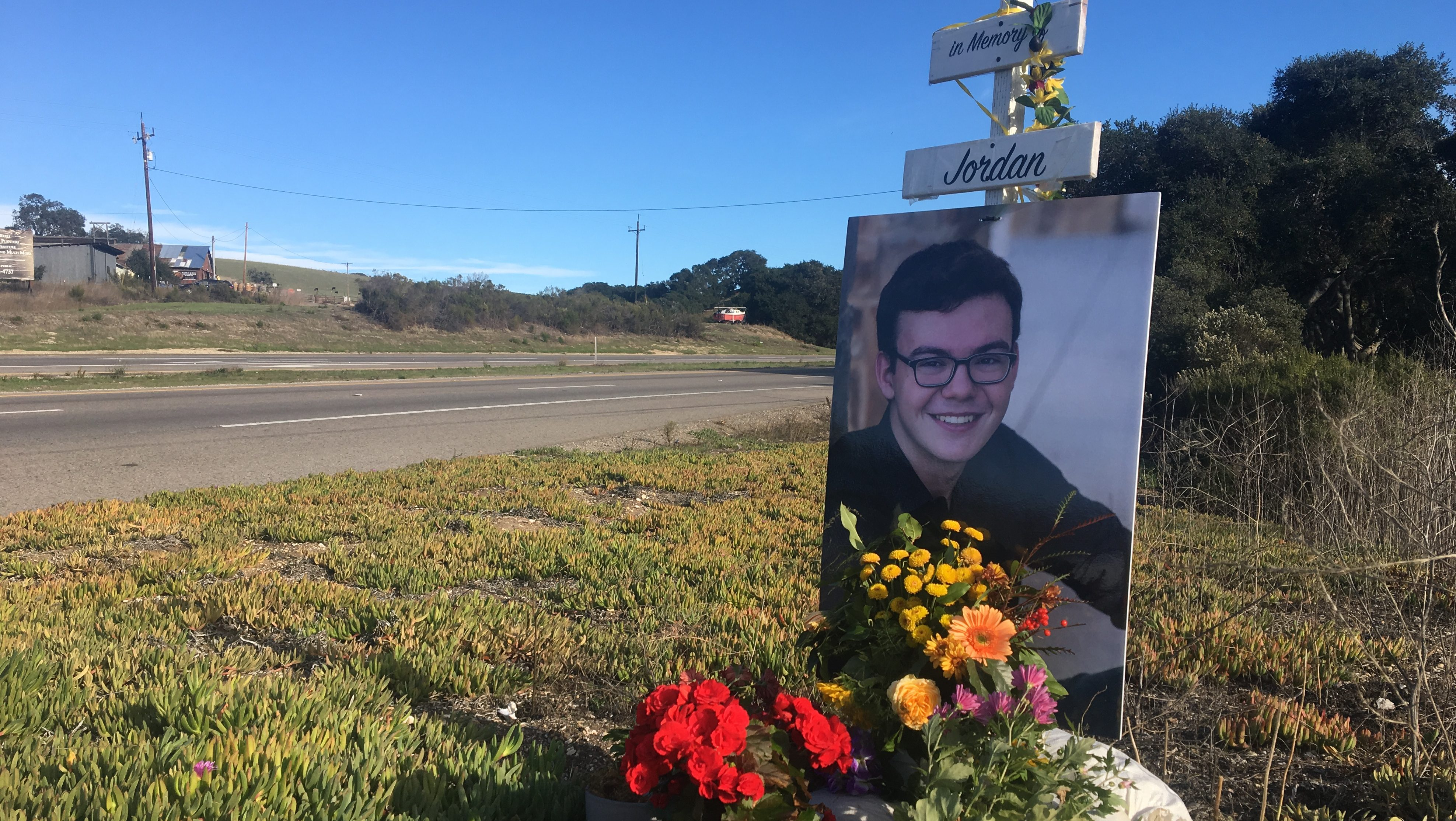 A memorial placed along Highway 101 at El Campo where Jordan grant was hit and killed in October.