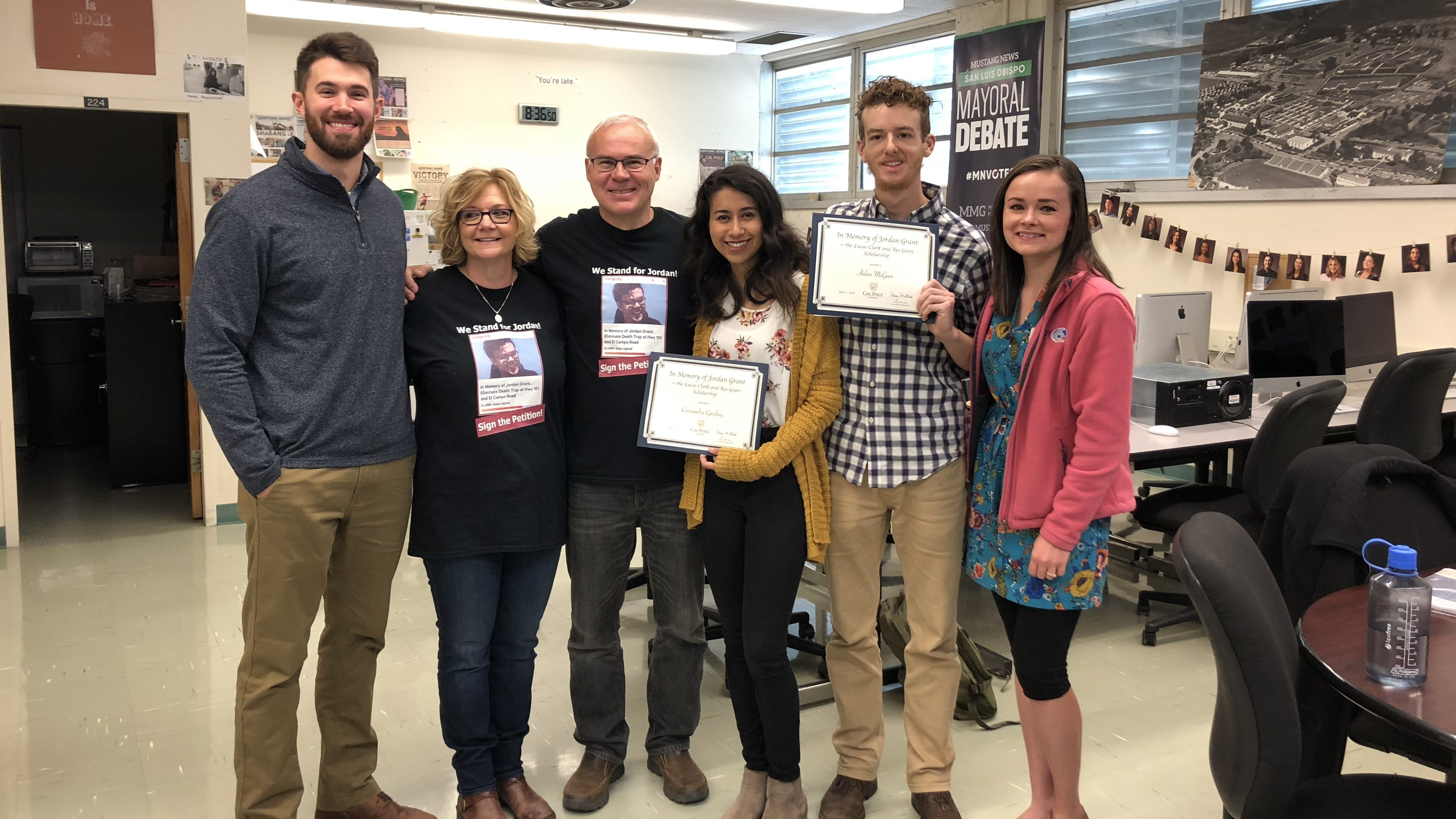 Lucas Clark, Jordan Grants' parents, Cassandra Garibay, Aidan McGloin and Aja Goare during Friday's scholarship presentation. (KSBY News)