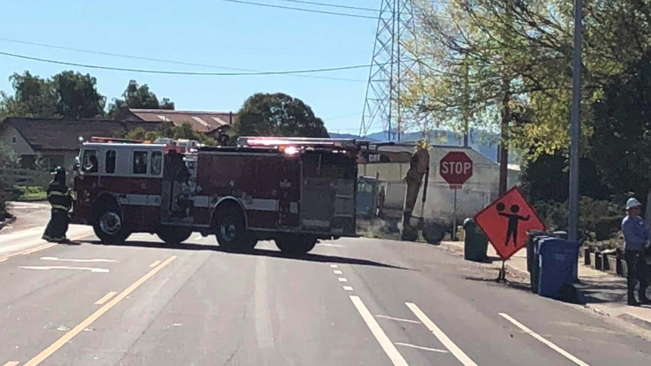 Firefighters at the scene of a gas leak in San Luis Obispo Friday. (KSBY photo)
