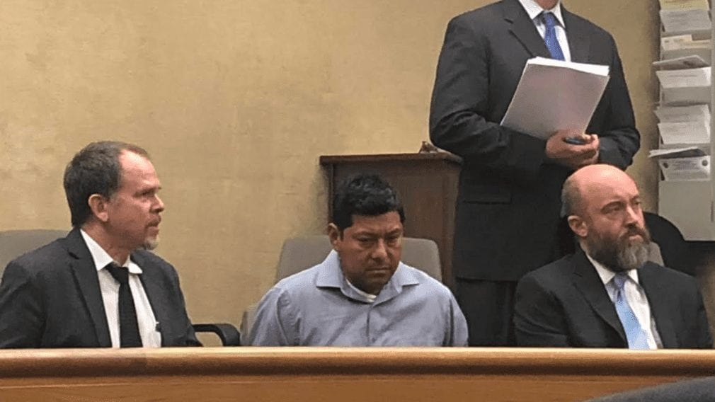 Carlo Alberto Fuentes Flores during his arraignment Friday in a San Luis Obispo courtroom. (KSBY photo)