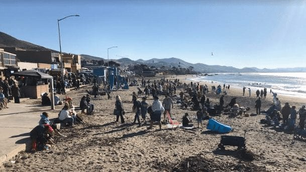 People enjoy New Years Day in Cayucos. KSBY photo)