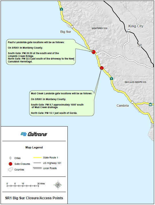 Sections of Hwy 1 in Big Sur area to be closed during storm