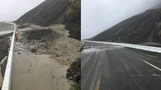 Photos from Caltrans of Mud Creek on Thursday.