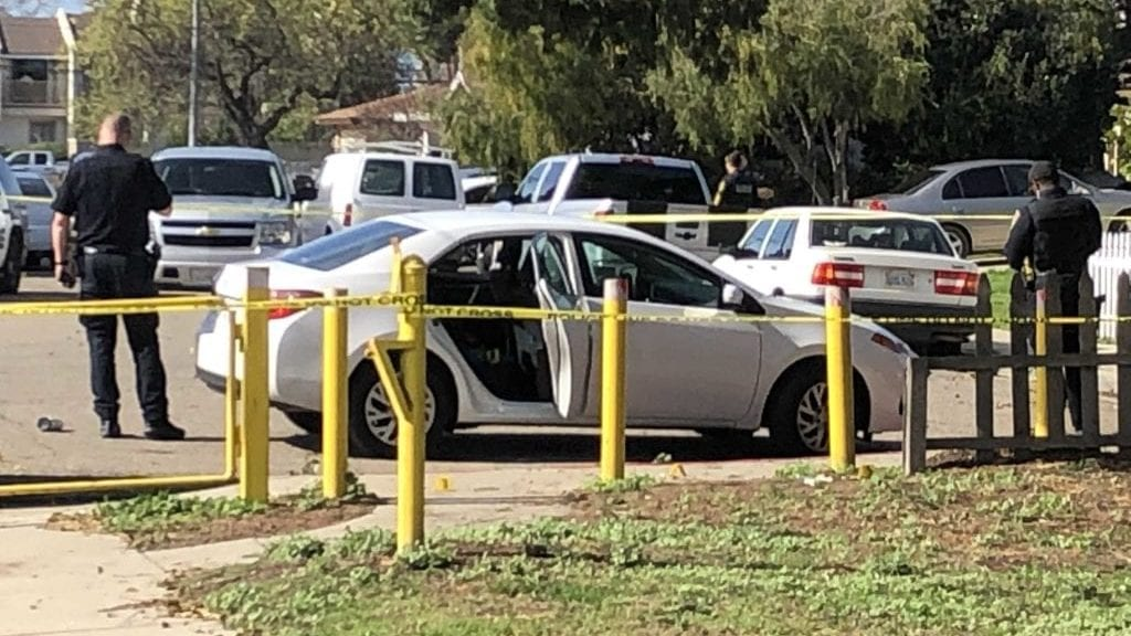 Police on scene at Ryon Park in Lompoc Friday after a reported shooting. (KSBY photo)
