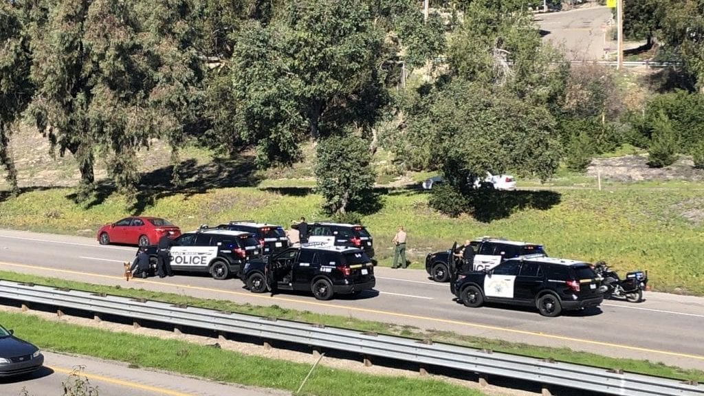 A standoff along Highway 101 in Arroyo Grande late Friday morning. (KSBY photo)