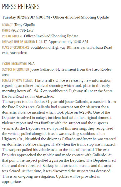 An updated press release sent out by the SLO Co. Sheriff's Office following the shooting, identifying the man who was killed.