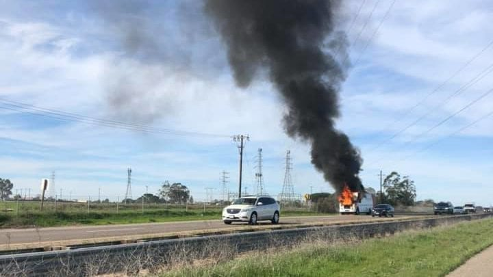 A vehicle on fire in the southbound lanes of Hwy 101 near Hwy 166. (Photo: Dena Marie)