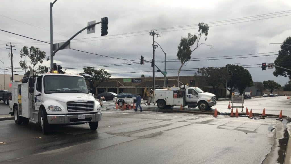 Road work underway Thursday after a broken gas line was repaired in Santa Maria. (KSBY photo)