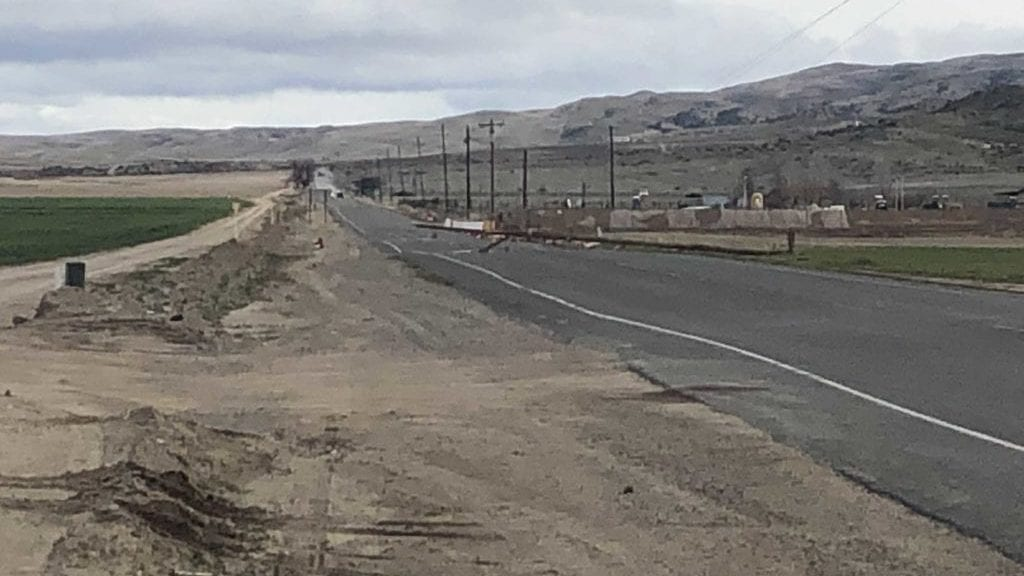 Power poles down along Highway 166. KSBY photo