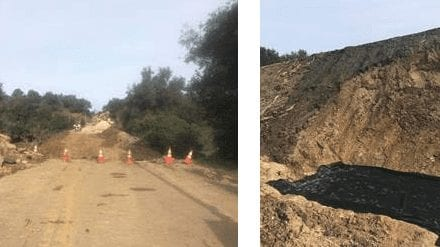 Repairs underway along Hwy 154 (left) and embankment work (right). Photos: Caltrans