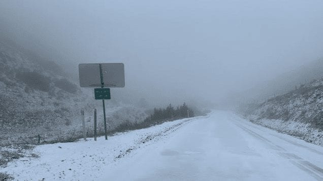 Snow along Highway 58 at the SLO Co. line (Photo: George Sullivan)