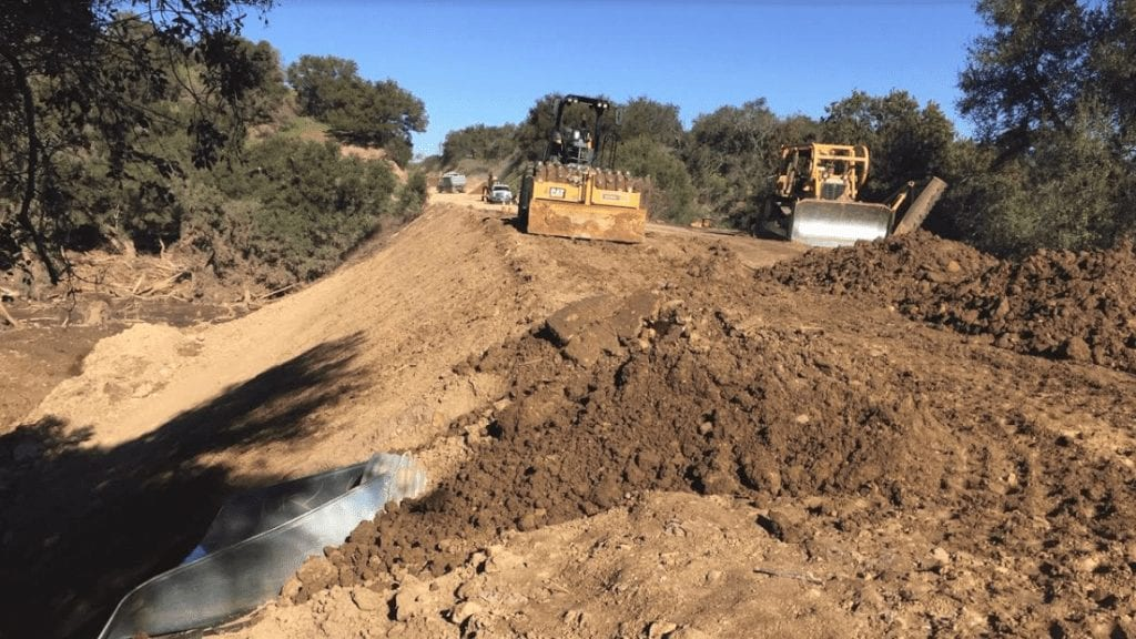 Work continues to reopen Highway 154. (Caltrans photo)