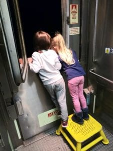 Hoopers daughter made friends while stuck on the train. Courtesy Jordyn Hooper