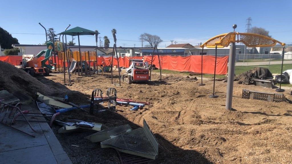 Installation of new playground equipment at Robert Bruce School in Santa Maria is underway. (KSBY photo)