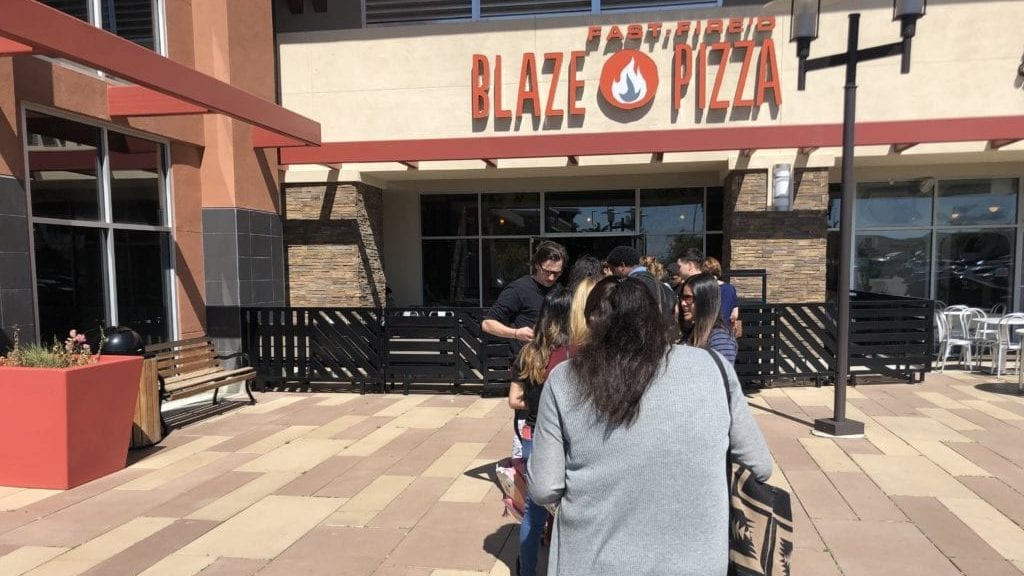 People wait in line Thursday afternoon at Blaze Pizza in Santa Maria. (KSBY photo)