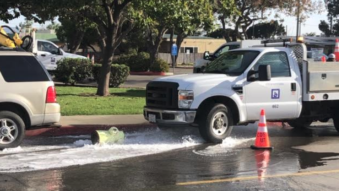 A broken fire hydrant on West Morrison Ave. in Santa Maria. (KSBY photo)