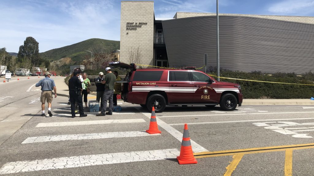 Firefighters on scene at Cal Poly. (KSBY photo)