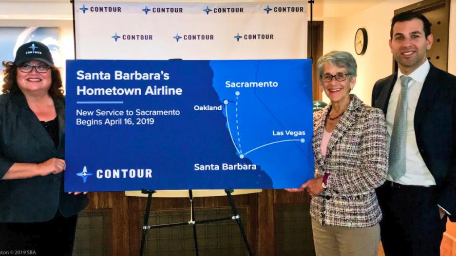 Santa Barbara Mayor Cathy Murillo, Calif. State Senator Hannah-Beth Jackson and Contour Airlines CEO Matt Chaifetz.