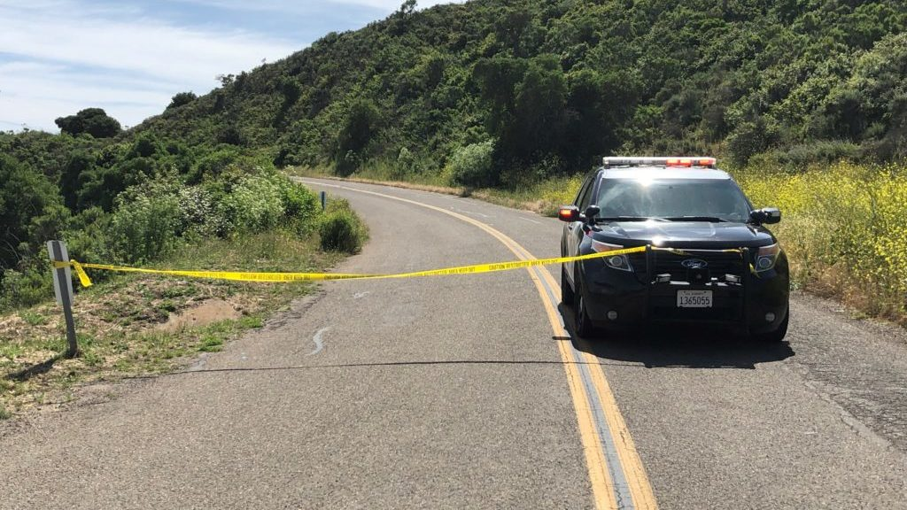CHP blocking off a section of Santa Rosa Road near Lompoc Friday morning. (KSBY photo)