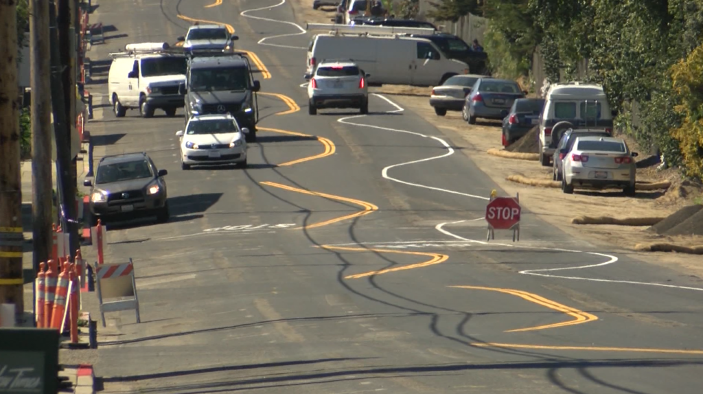Shell Beach Road earlier this year when the curved lines were first painted. (KSBY photo)