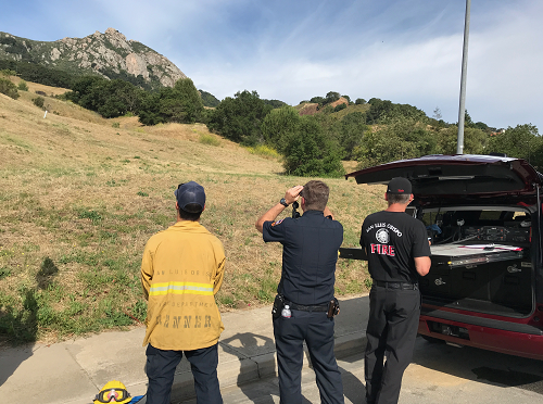 Firefighters staging at Bishop Peak for a rescue Tuesday morning. (KSBY photo)
