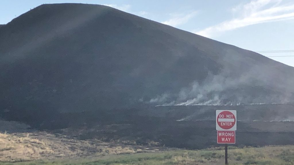 Hot spots visible at the McMillan Fire Thursday morning. (KSBY photo)