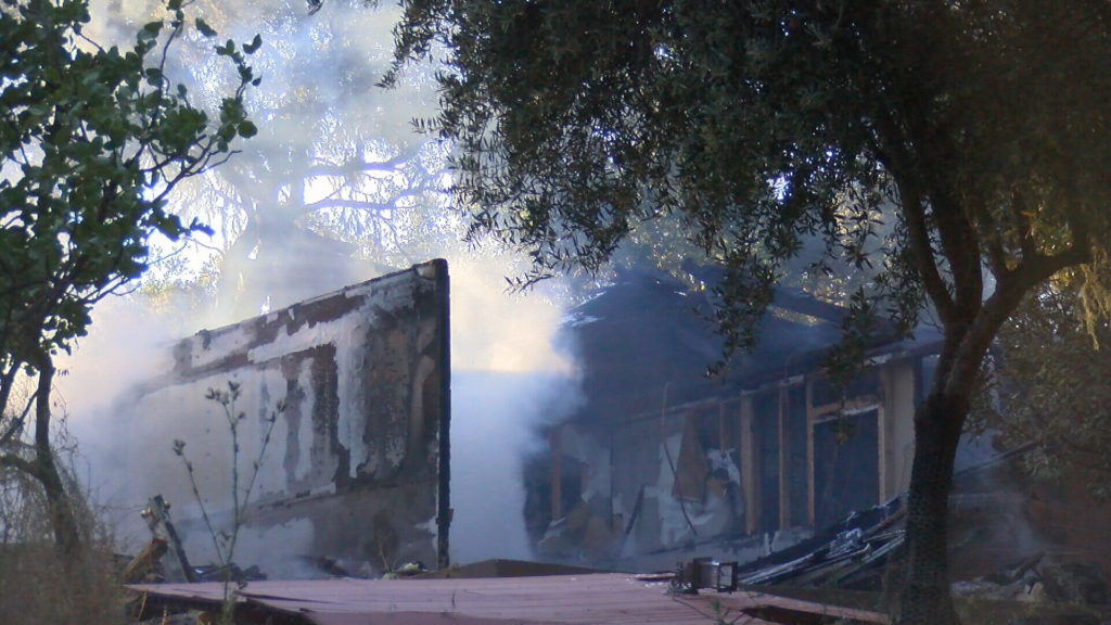 A Templeton home destroyed by fire Thursday evening. (KSBY photo)