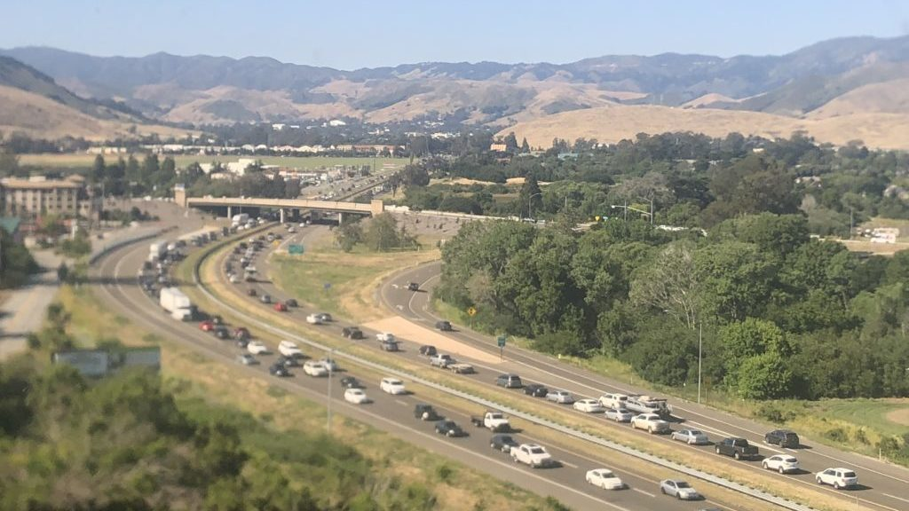 Traffic along Highway 101 in SLO Friday afternoon. (KSBY photo)