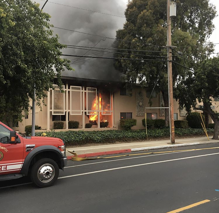 Lompoc Fire on scene of a structure fire Saturday morning. Lompoc City Fire photo