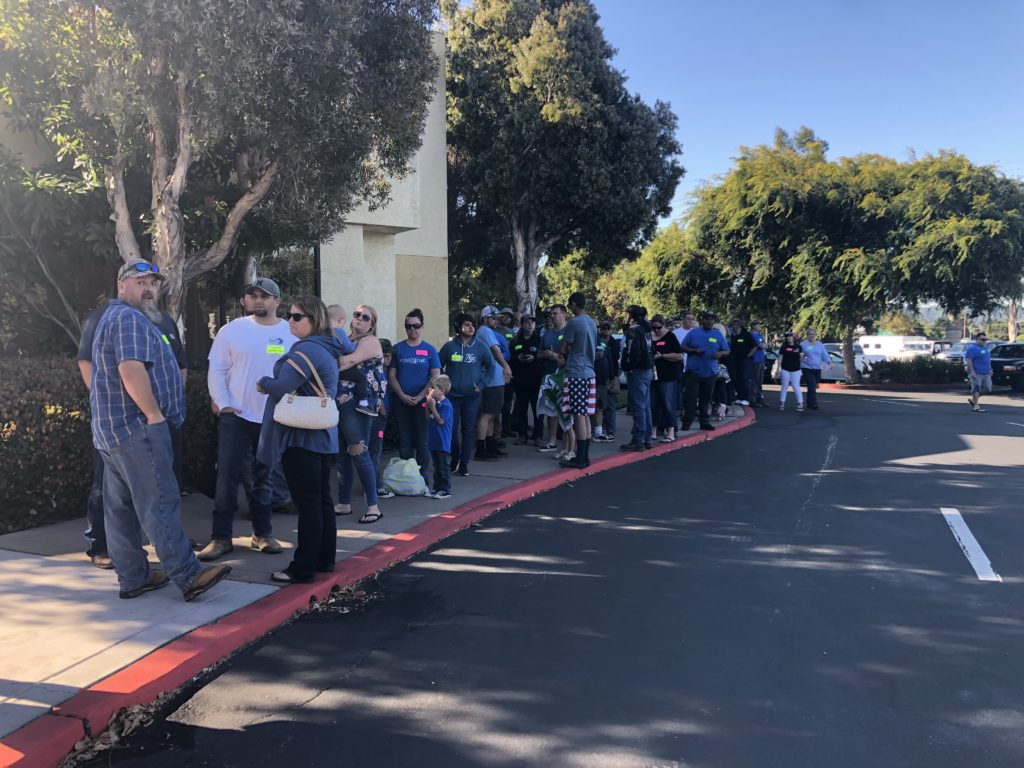 Crowds outside Embassy Suites in San Luis Obispo Thursday morning. KSBY photo